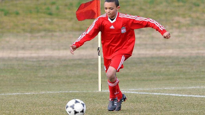 Alexander-Arnold at 6 years old, playing in Liverpool's academy.