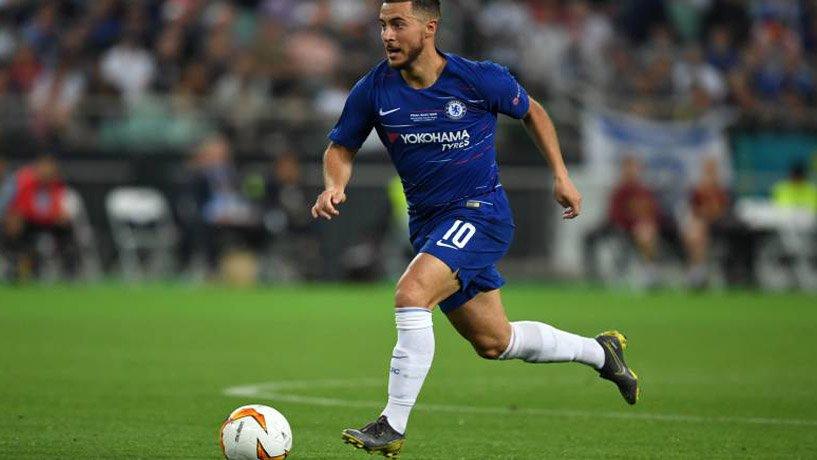 Eden Hazard playing for Chelsea Club