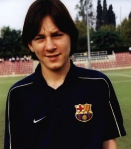 Messi's first football-kit from Barcelona FC during his trail season.