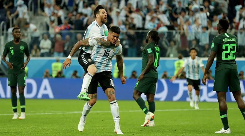 Messi scored a goal on match against Nigeria at the Krestovsky Stadium in Saint Petersburg
