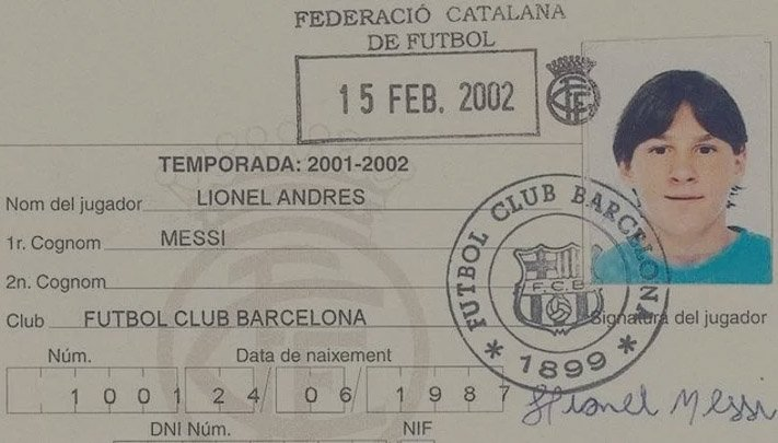 Messi's first football club card in Barcelona.