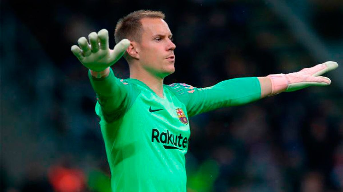 Marc Andre ter Stegen after signing a contract with Barcelona.
