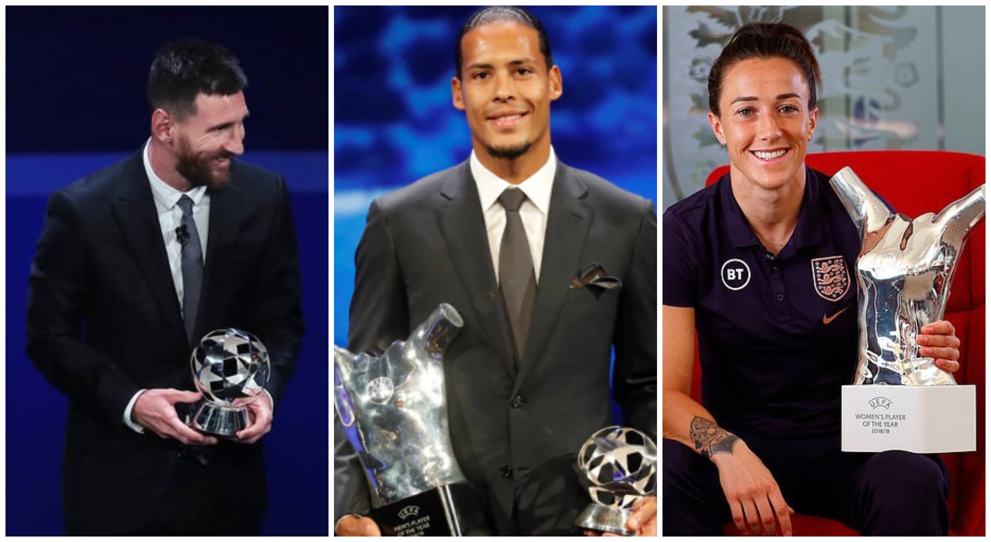 UEFA Award Winners for 2018/19 Season – Virgil Van Dijk, Lionel Messi, Lucy Bronze take the Spotlight