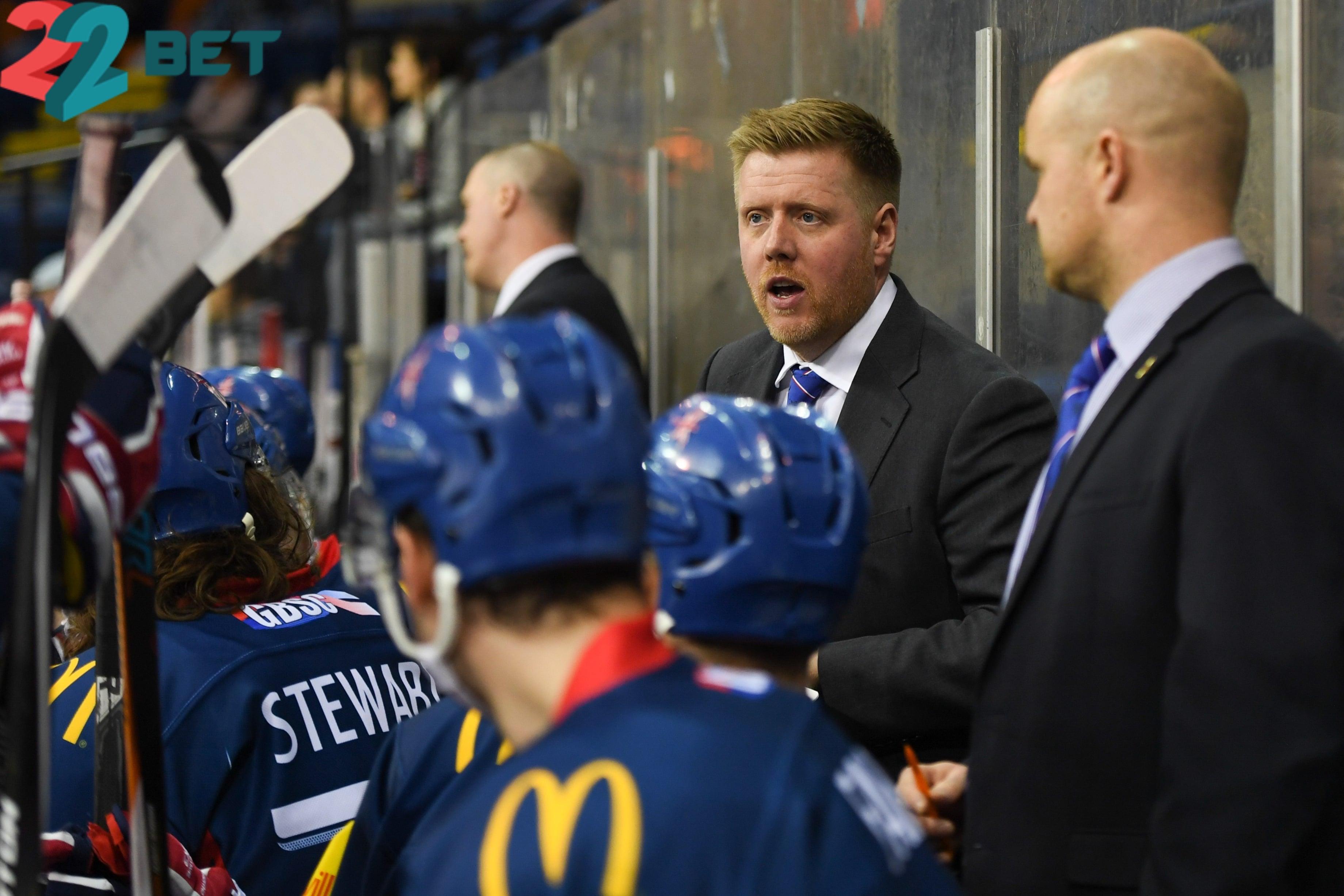 Ice Hockey team GB head coach Peter Russel talking to his team ahead of IIHF World Cup 2020.