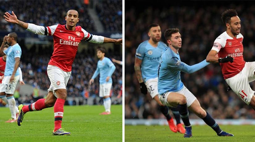 Manchester City and Arsenal players during their previous match