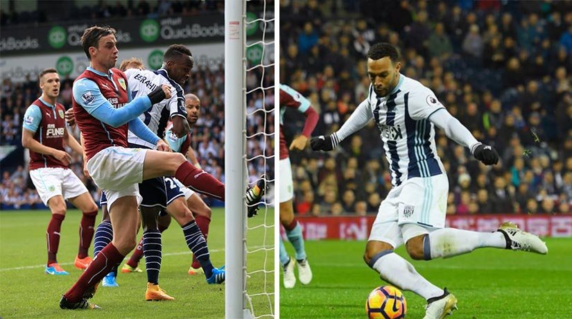 West Brom and Burnley players during the match