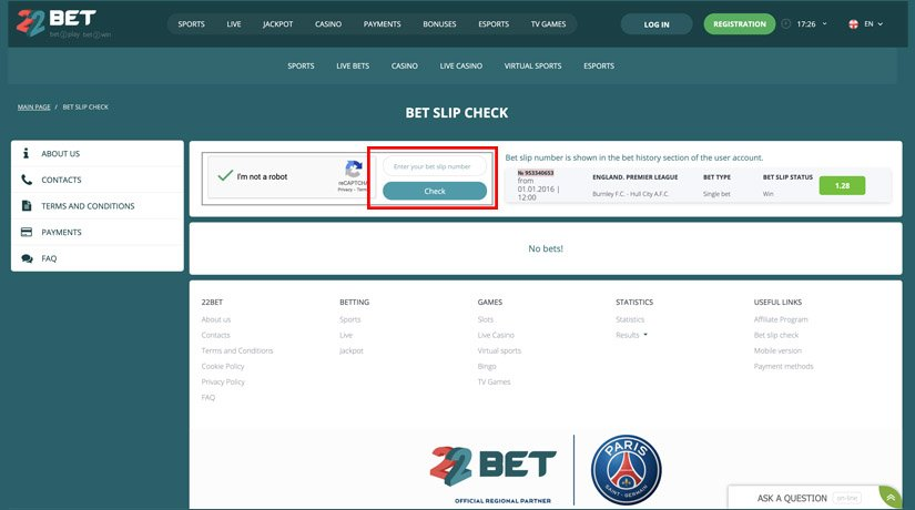 How to check bet slip code on 22Bet Nigeria