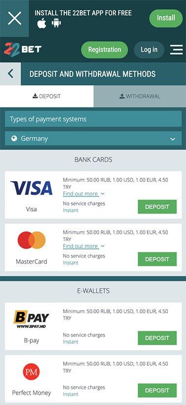 22Bet Naija deposit and withdrawal methods