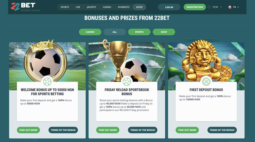 22Bet Nigeria bonuses page.
