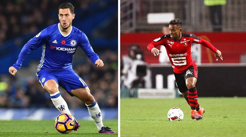 Chelsea and Rennes players during the match