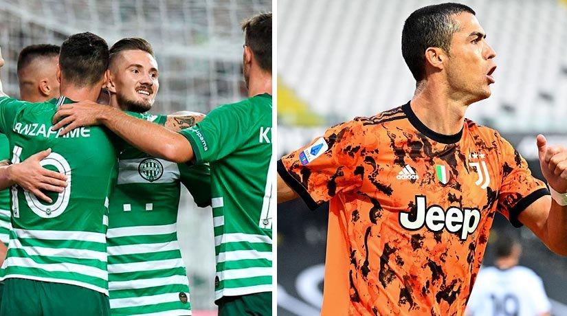 Ferencvarosi TC and Juventus players during the match