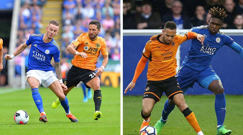 Leicester vs Wolves players during the previous match