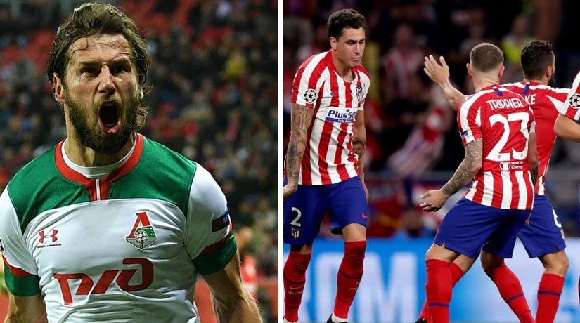 Lokomotiv Moscow and Atletico Madrid players during the previous Champions League fixture