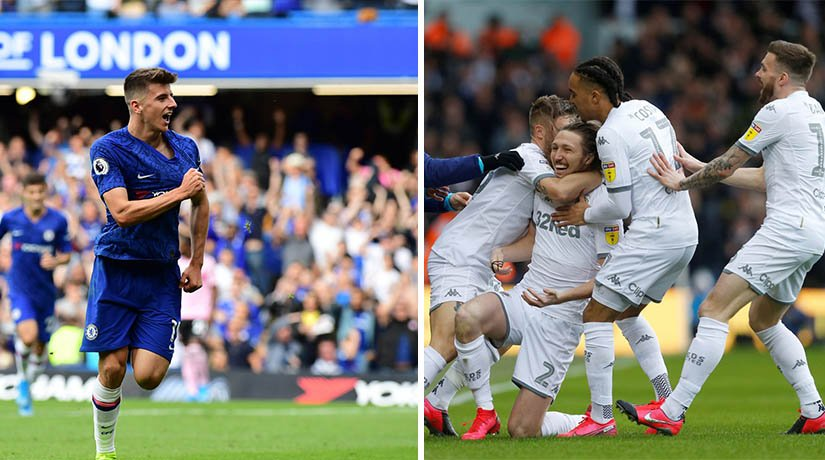 Chelsea vs Leeds players during the match