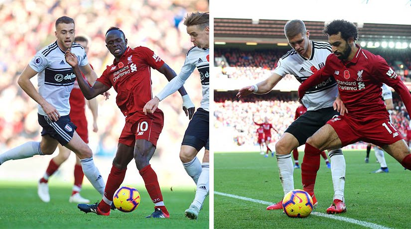 Fulham vs Liverpool players during the match