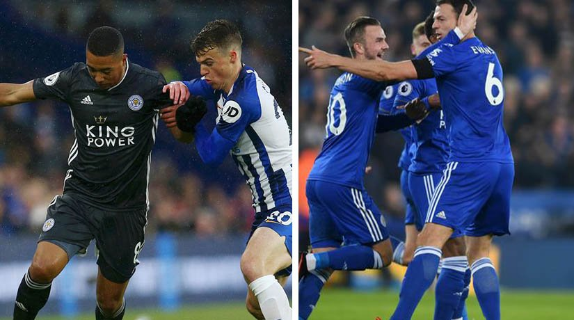 Leicester vs Brighton players during the match