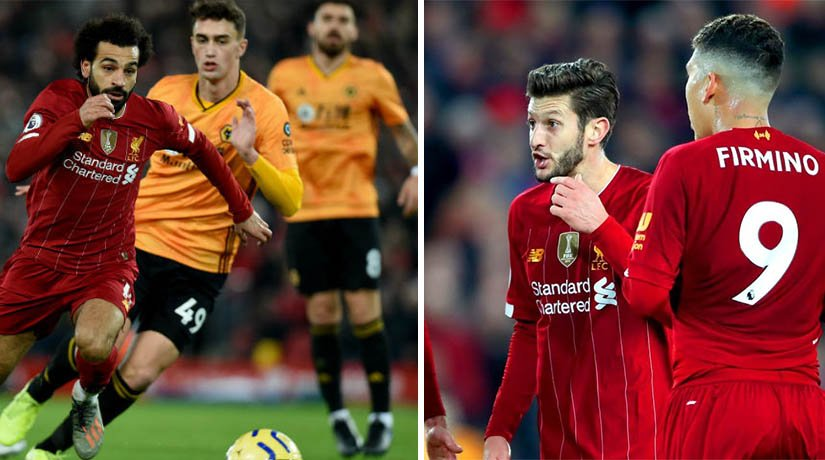 Liverpool vs Wolves players during the match