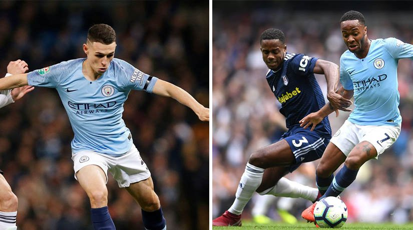 Man City vs Fulham players during the match