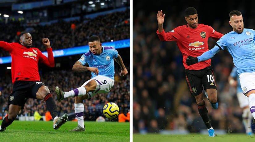 Man Utd vs Man City players during the match