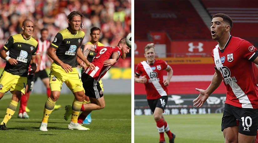 Southampton vs Sheff Utd players during the match