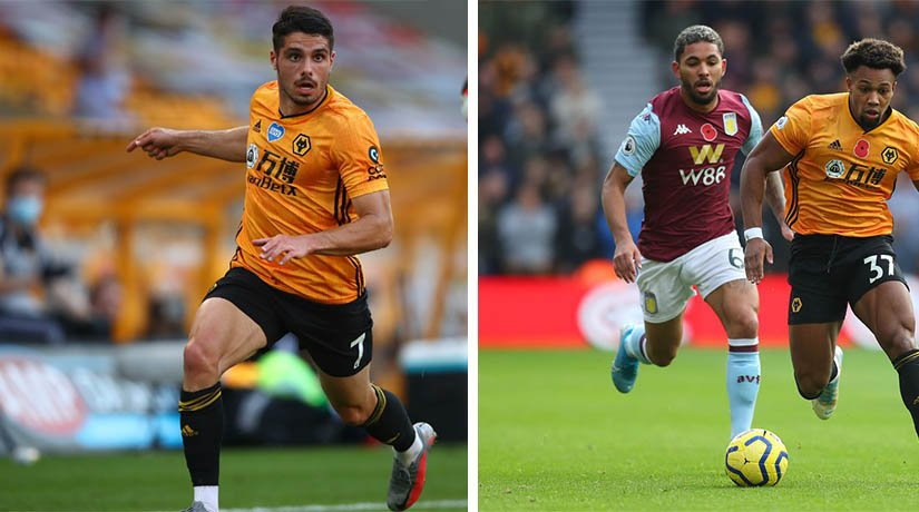 Wolves vs Aston Villa players during the match