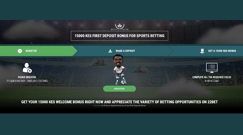 22Bet Kenya welcome bonus for first deposit