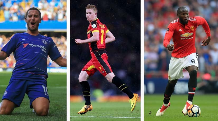 Eden Hazard, Kevin De Bruyne, and Romelu Lukaku in Belgian national team
