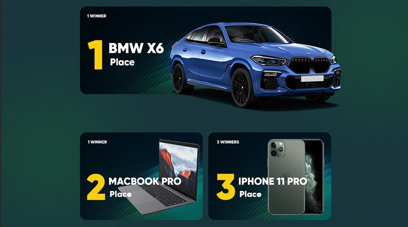 22Bet Football Mani Lottery prizes, including BMW X6.