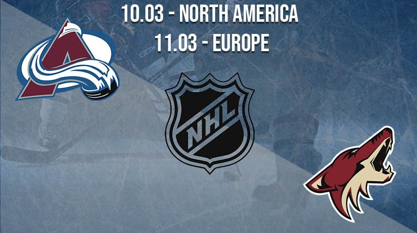 NHL Prediction: Colorado Avalanche vs Arizona Coyotes on 10.03.2021 North America, on 11.03.2021 Europe