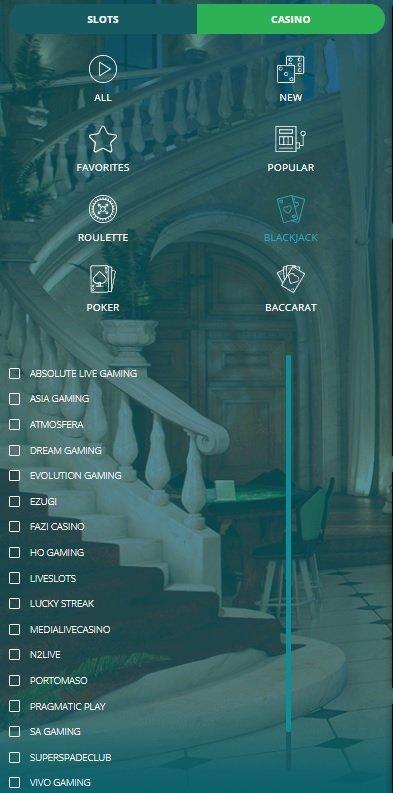 22Bet live casino navigation menu.