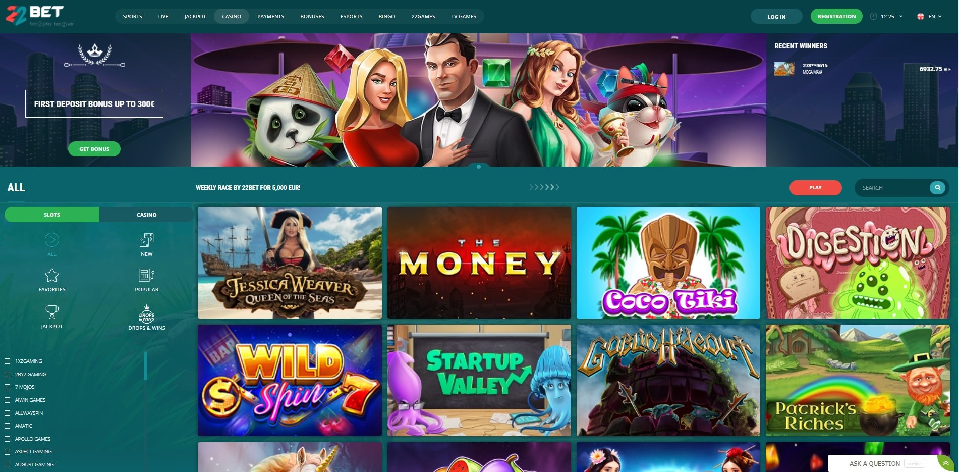 22Bet casino slot games lobby.