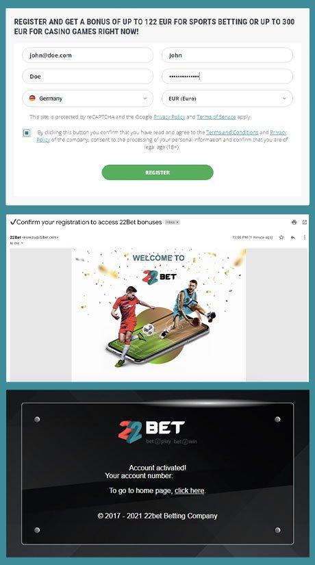 22Bet casino registration process.