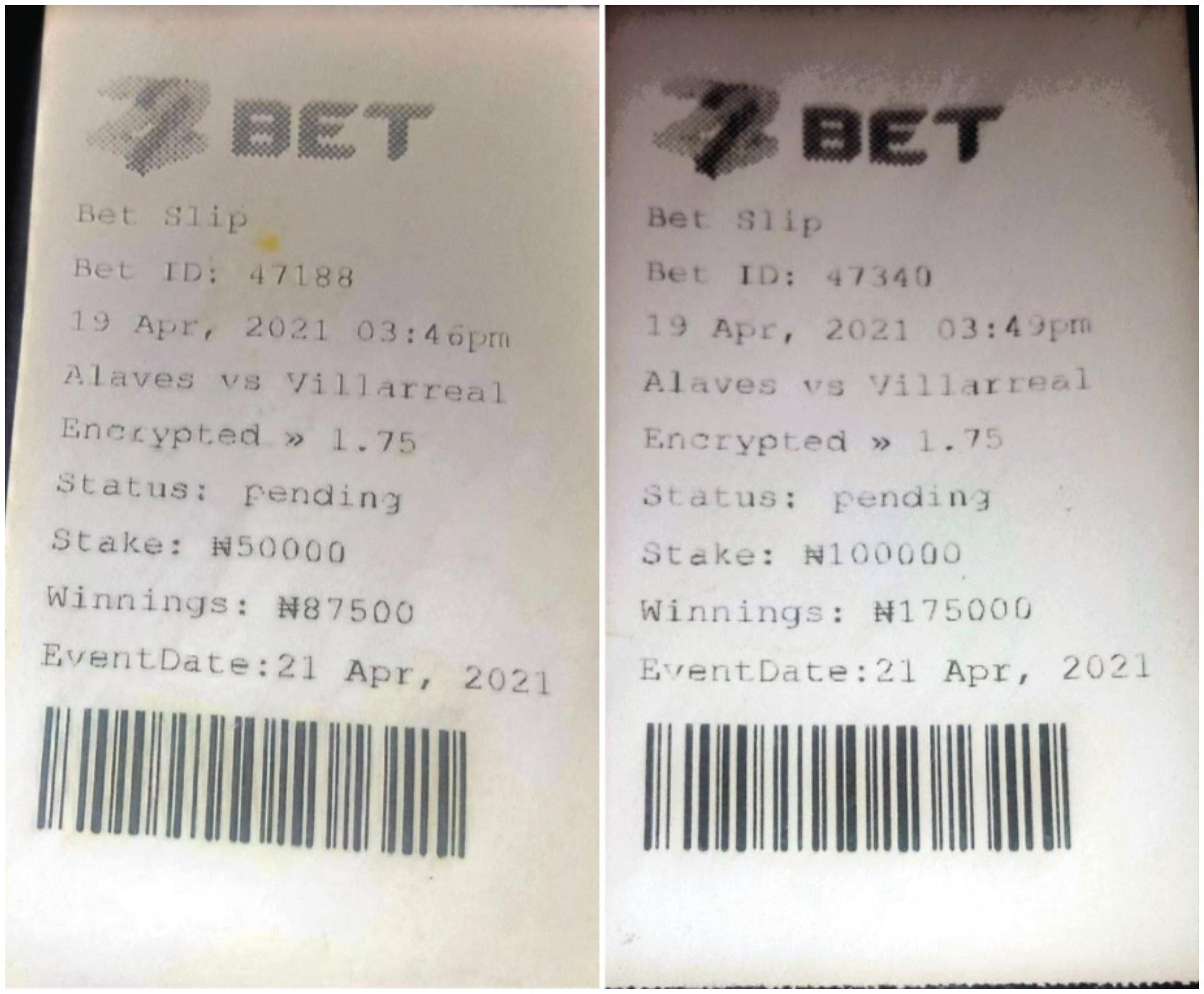 Fake and fraudulent 22Bet betting slips from Nigeria.