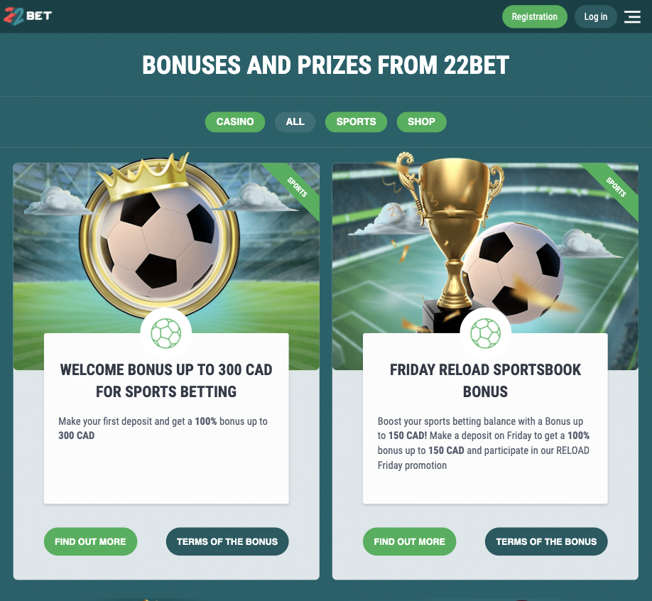 Betting and casino bonuses on the 22bet app.