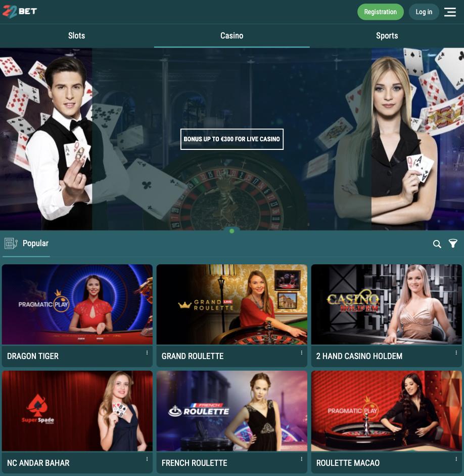 22Bet mobile app live casino lobby.