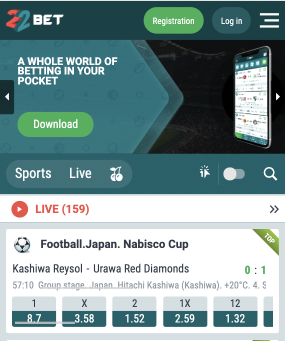22Bet mobile site version.