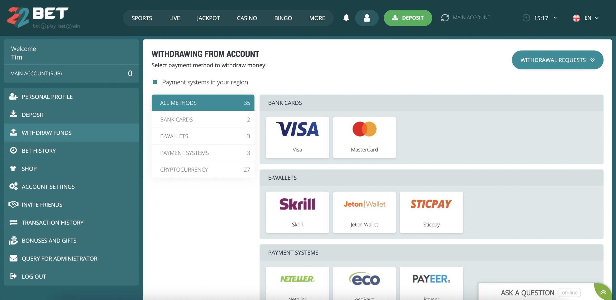 22bet account withdrawal page.