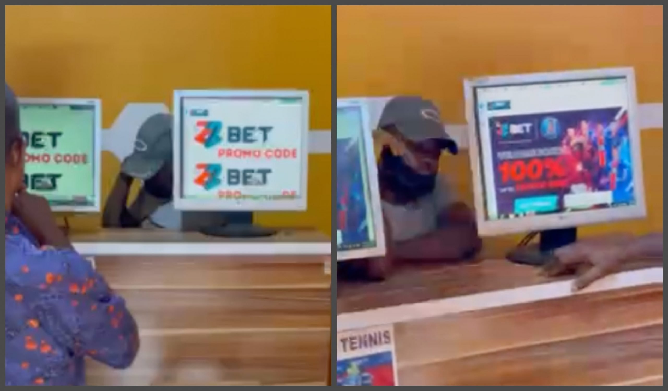 Betting shop display 22Bet brand imagery.